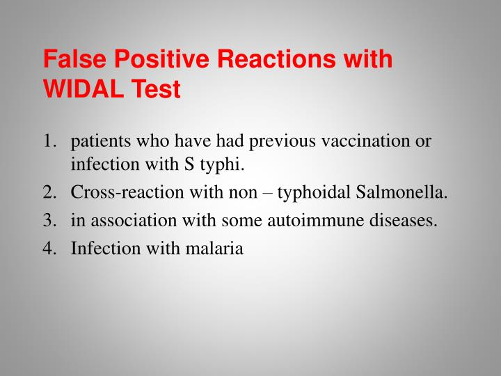 False Positive Reactions with WIDAL Test