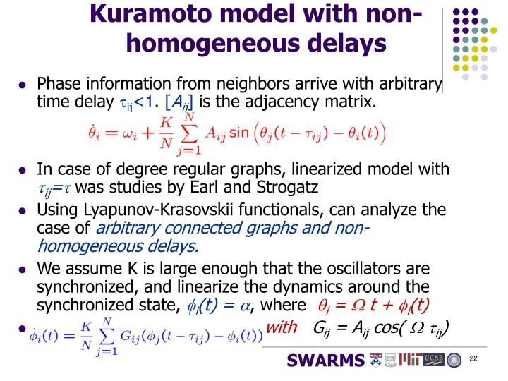 Kuramoto model with non-homogeneous delays
