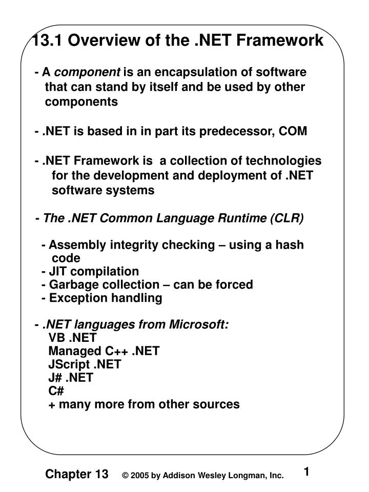13.1 Overview of the .NET Framework