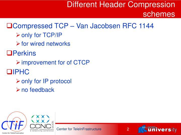 Different Header Compression schemes