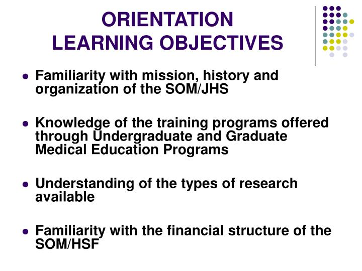 Orientation learning objectives