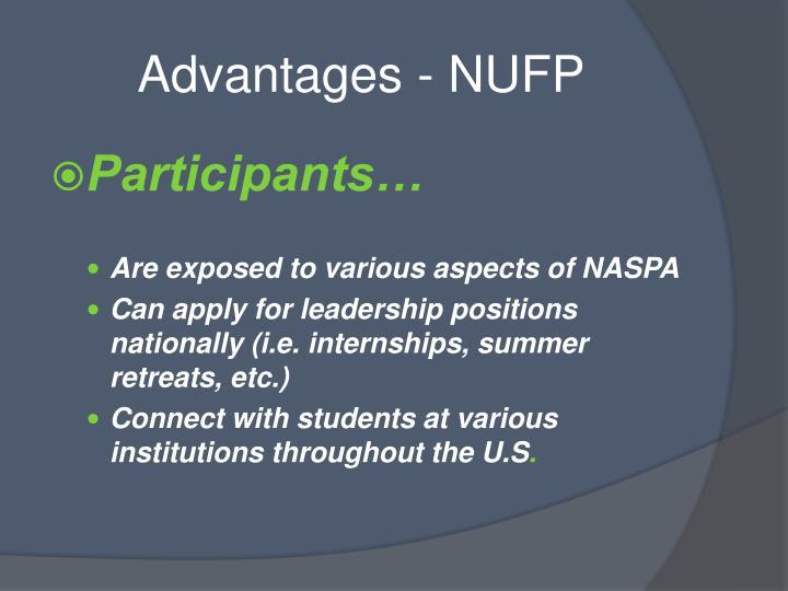 Advantages - NUFP