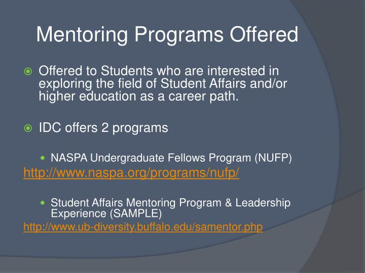 Mentoring Programs Offered