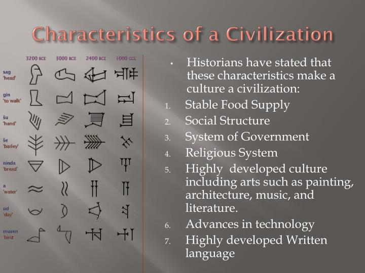 Characteristics of a Civilization
