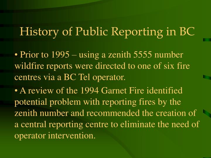 History of public reporting in bc
