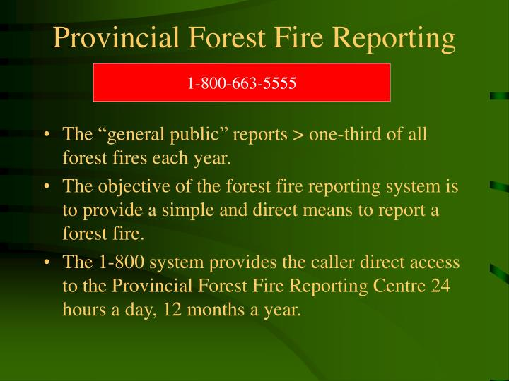 Provincial Forest Fire Reporting