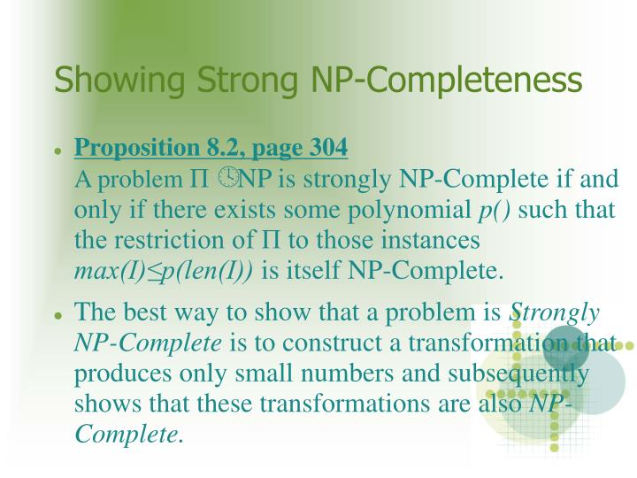 Showing Strong NP-Completeness