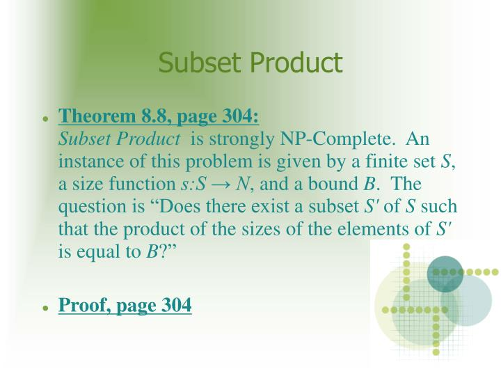 Subset Product