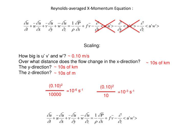 Reynolds-averaged X-Momentum Equation :