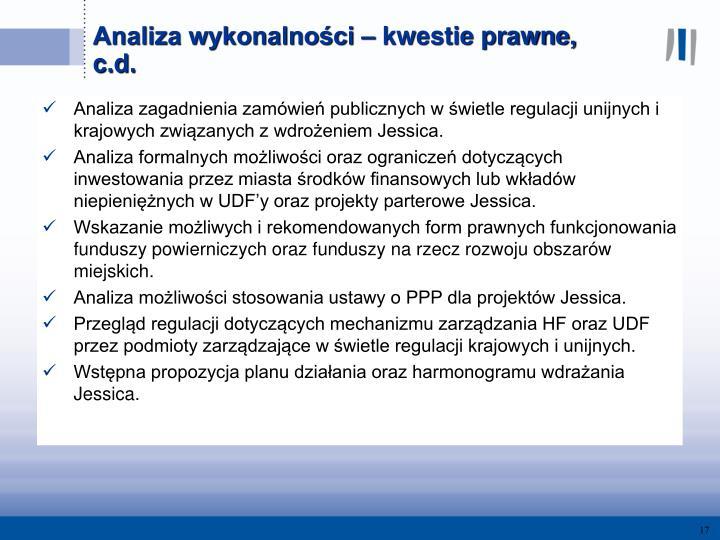 Analiza zagadnienia zamówień publicznych w świetle regulacji unijnych i krajowych związanych z wdrożeniem Jessica.