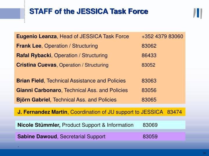 STAFF of the JESSICA Task Force
