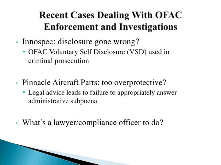 Recent cases dealing with ofac enforcement and investigations