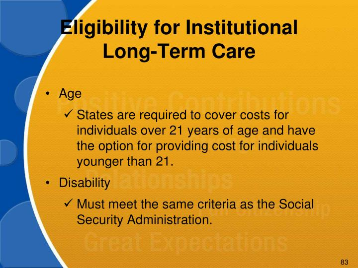 Eligibility for Institutional Long-Term Care