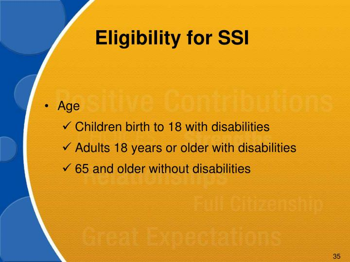 Eligibility for SSI