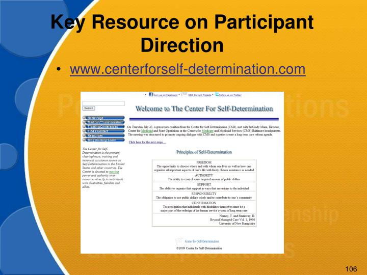 Key Resource on Participant Direction
