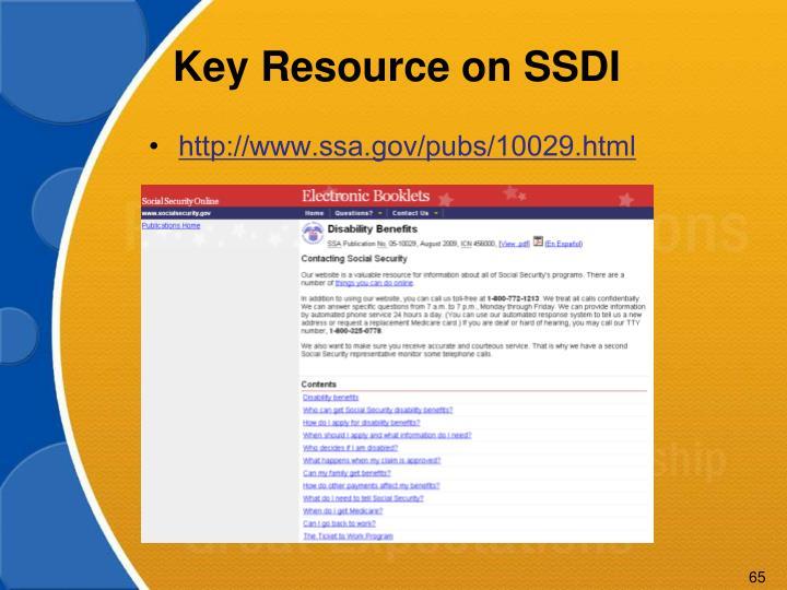 Key Resource on SSDI