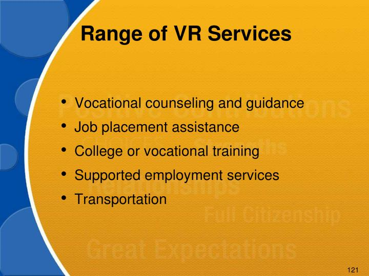 Range of VR Services