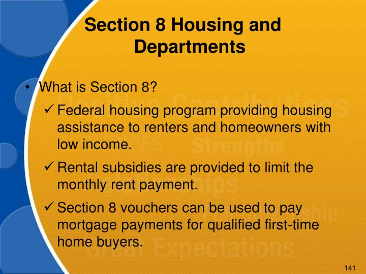 Section 8 Housing and Departments