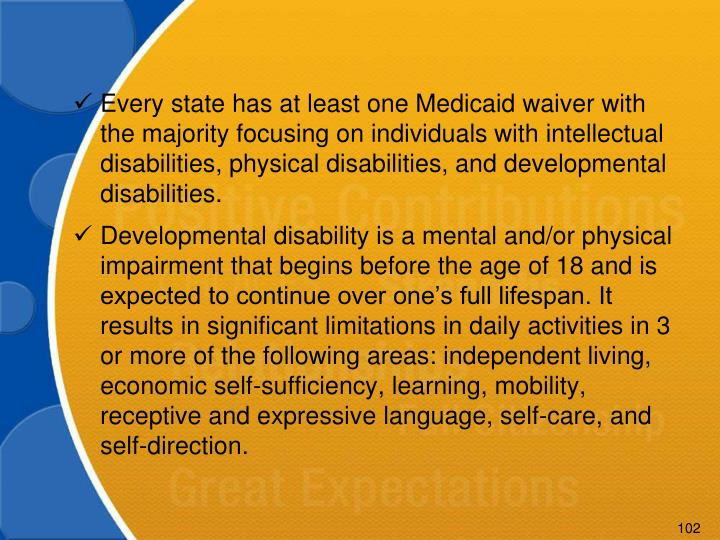 Every state has at least one Medicaid waiver with the majority focusing on individuals with intellectual disabilities, physical disabilities, and developmental disabilities.