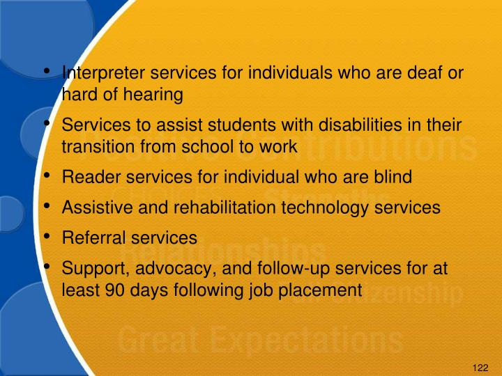 Interpreter services for individuals who are deaf or hard of hearing