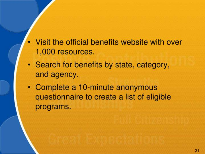 Visit the official benefits website with over 1,000 resources.