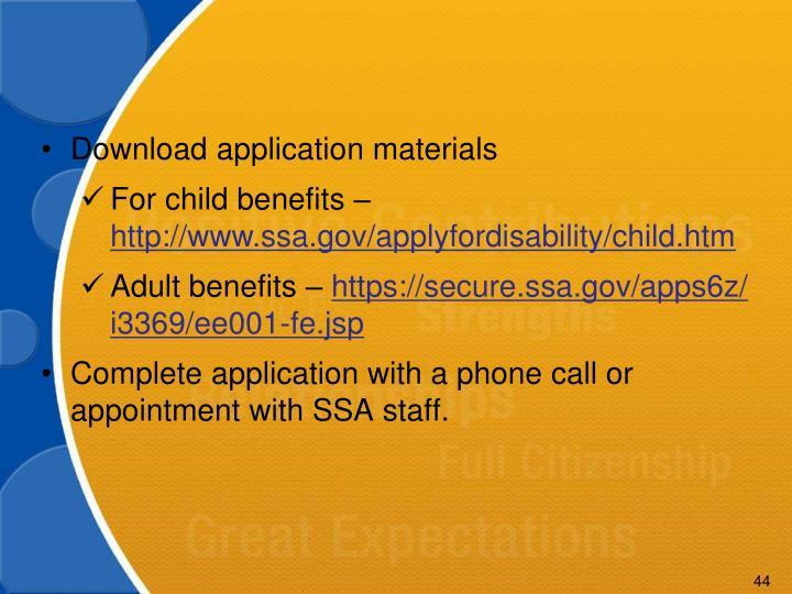 Download application materials