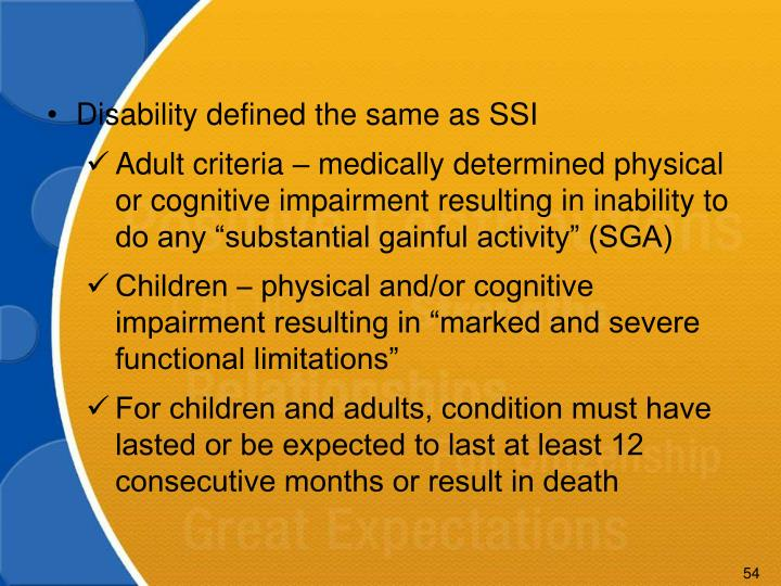 Disability defined the same as SSI