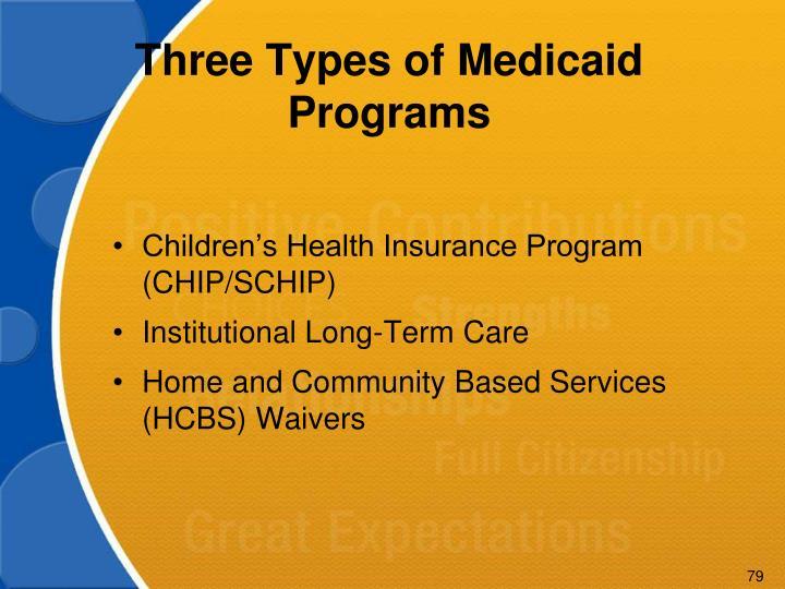 Three Types of Medicaid Programs