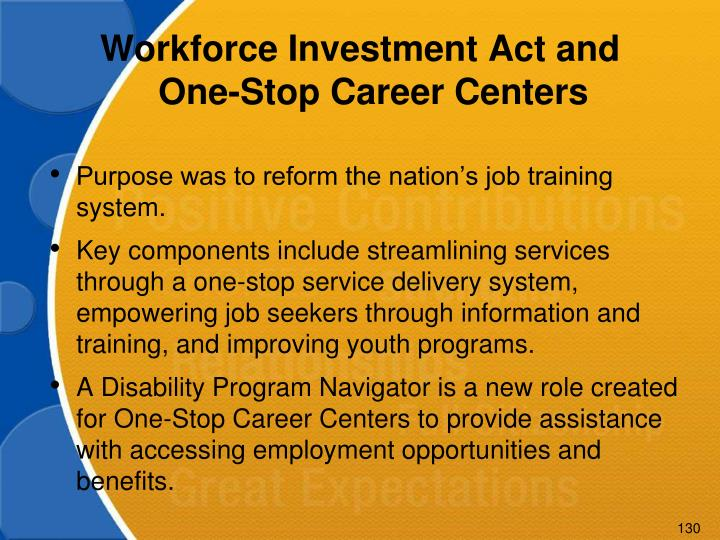 Workforce Investment Act and One-Stop Career Centers
