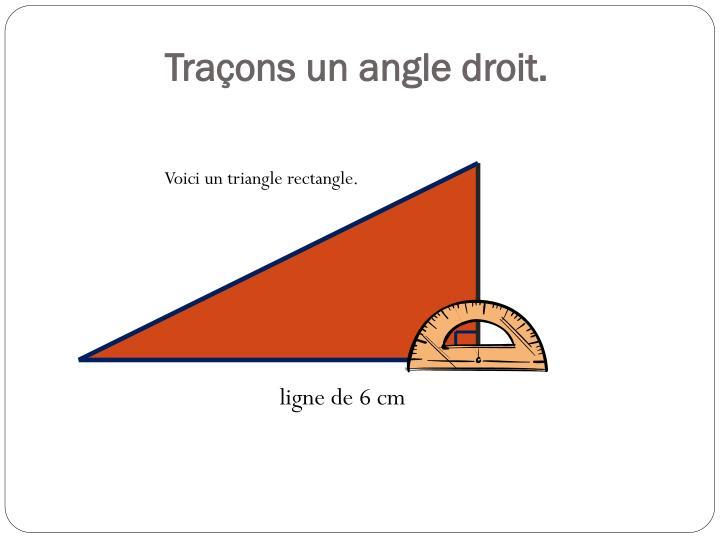 Traçons un angle droit.