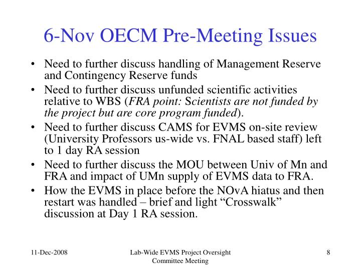 6-Nov OECM Pre-Meeting Issues