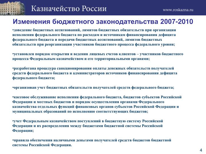 Изменения бюджетного законодательства 2007-2010