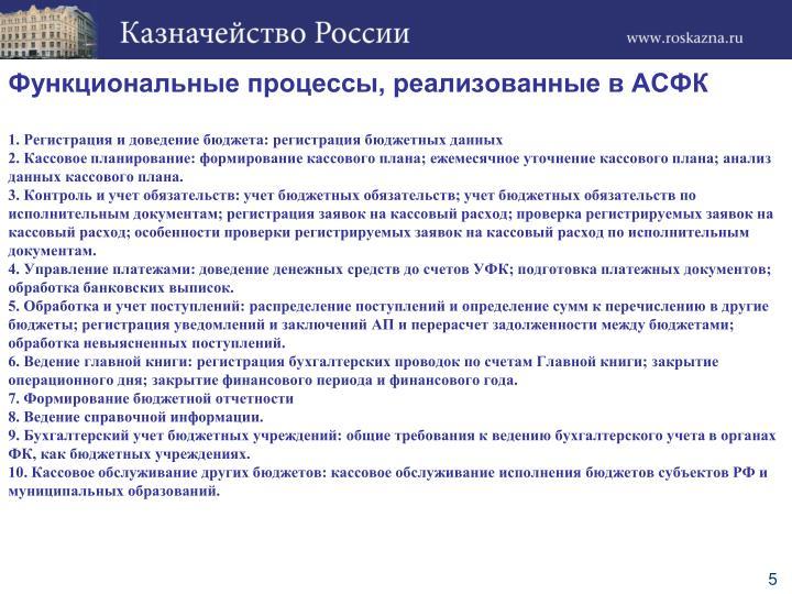 Функциональные процессы, реализованные в АСФК