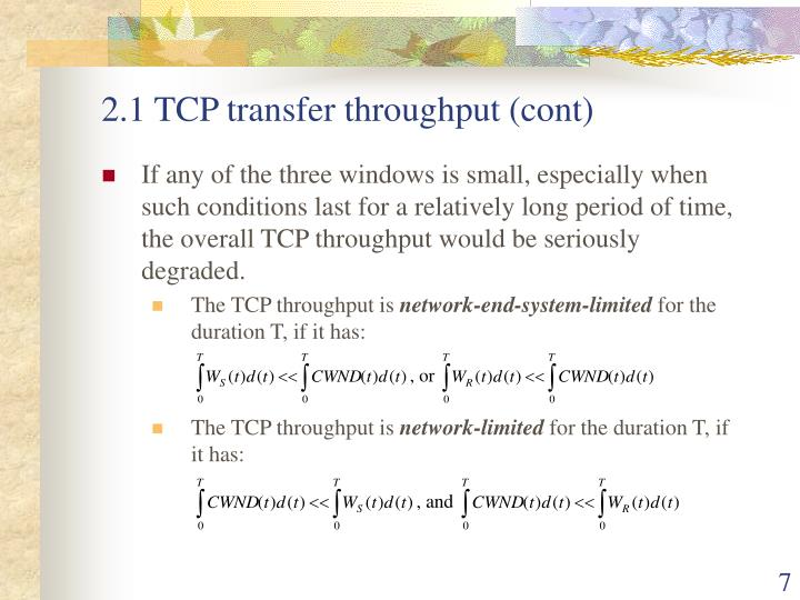2.1 TCP transfer throughput (cont)