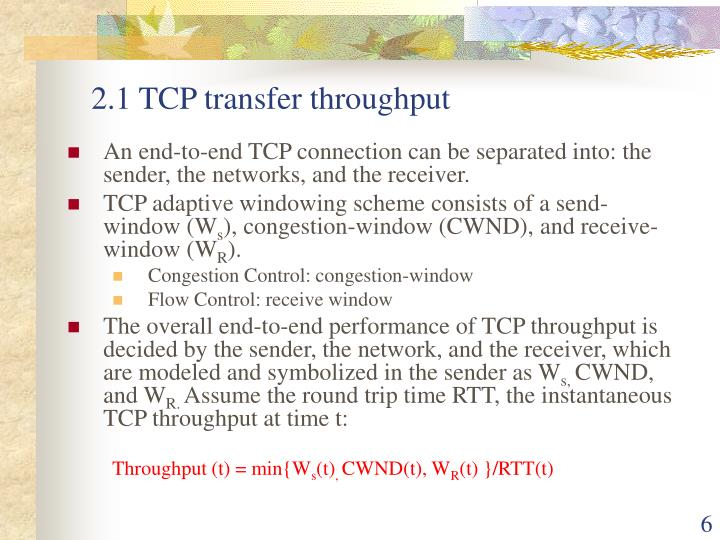 2.1 TCP transfer throughput
