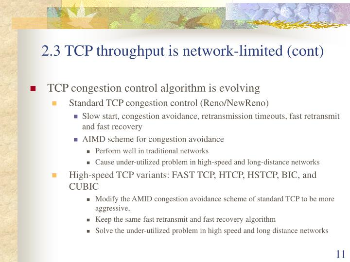 2.3 TCP throughput is network-limited (cont)