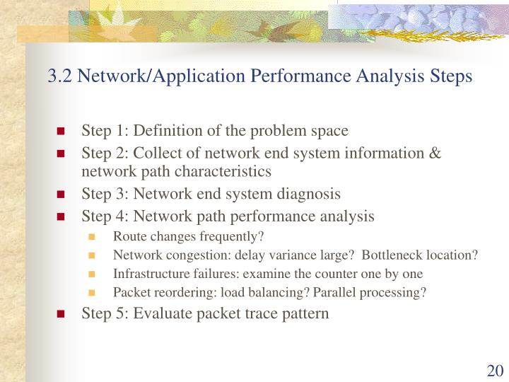 3.2 Network/Application Performance Analysis Steps