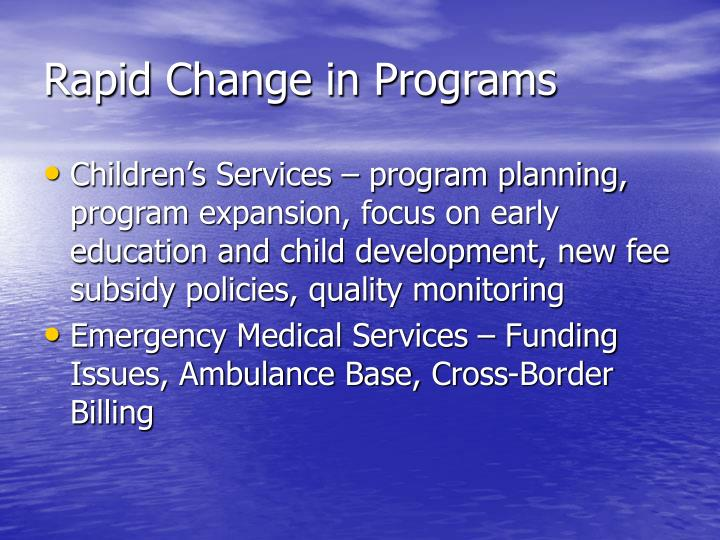 Rapid Change in Programs