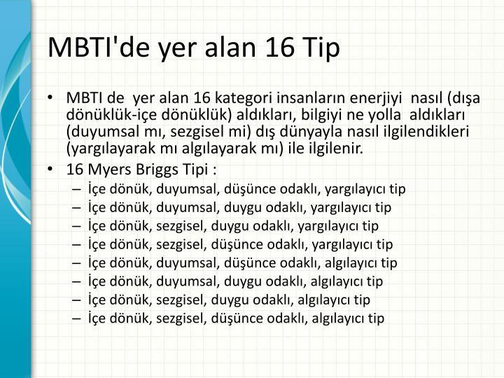 MBTI'de yer alan 16 Tip
