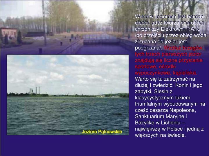 Woda w jeziorach jest bardzo ciepła, gdyż tworzą one obieg chłodniczy Elektrowni P.A.K. /po przejściu przez obieg woda zrzucana do jezior jest podgrzana/.