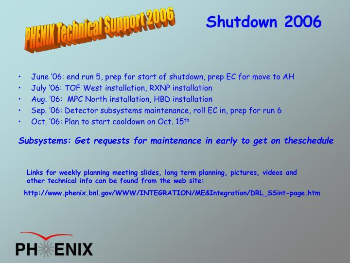 June '06: end run 5, prep for start of shutdown, prep EC for move to AH