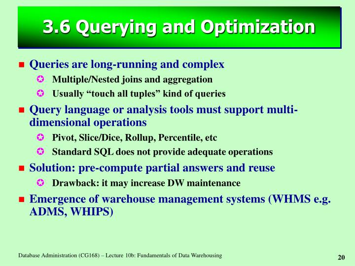 3.6 Querying and Optimization