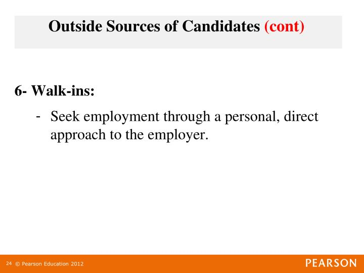 Outside Sources of Candidates (cont)
