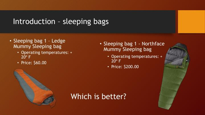 Introduction – sleeping bags