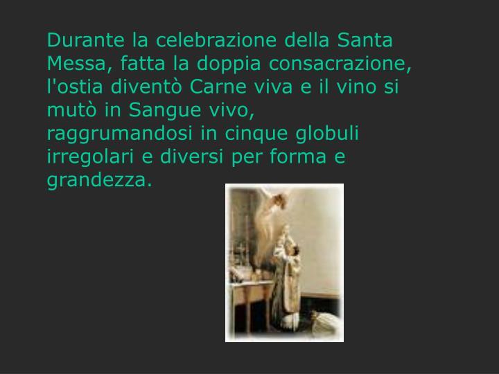 Durante la celebrazione della Santa Messa, fatta la doppia consacrazione,