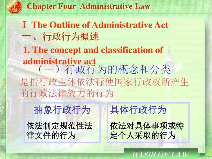 Ⅰ The Outline of Administrative Act