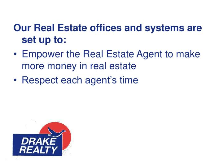 Our Real Estate offices and systems are set up to: