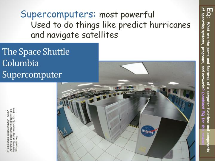 The Space Shuttle Columbia Supercomputer
