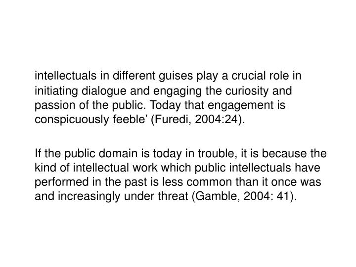 Intellectuals in different guises play a crucial role in initiating dialogue and engaging the curios...