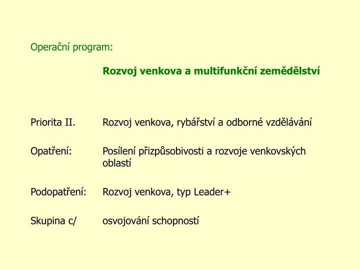 Operační program: